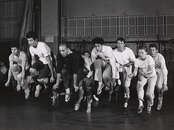 Jerome Robbins and cast rehearse
