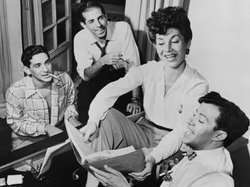 Leonard Bernstein, Jerome Robbins, Betty Comden and Adolph Green, rehearsing ...
