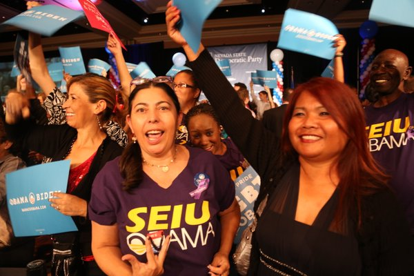 Supporters of President Barack Obama showed their enthusiasm for his reelecti...