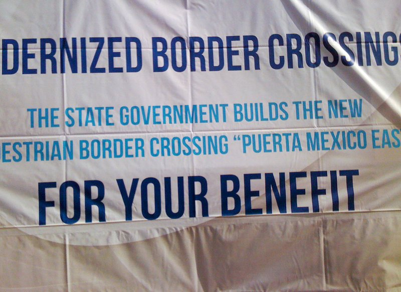 Sign at the San Yisdro-Tijuana border crossing announcing the new changes at ...