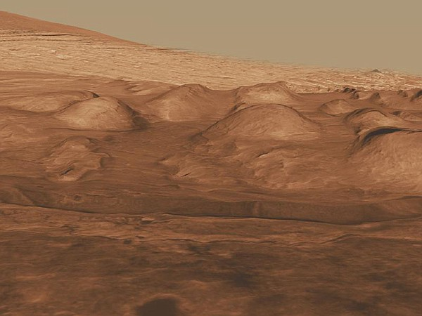 This oblique view of the lower mound in Gale crater shows layers of rock that...