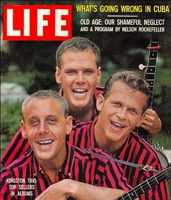 The Kingston Trio on the cover of Life magazine in 1959. The band is the subj...