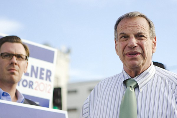 Congressman and future mayor Bob Filner at a press confer...