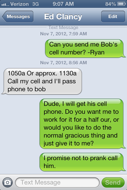 A screenshot of a text message conversation between Ryan Clumpner, DeMaio's campaign manager, and Ed Clancy, Filner's campaign manager, was sent to I-Newsource after the election.