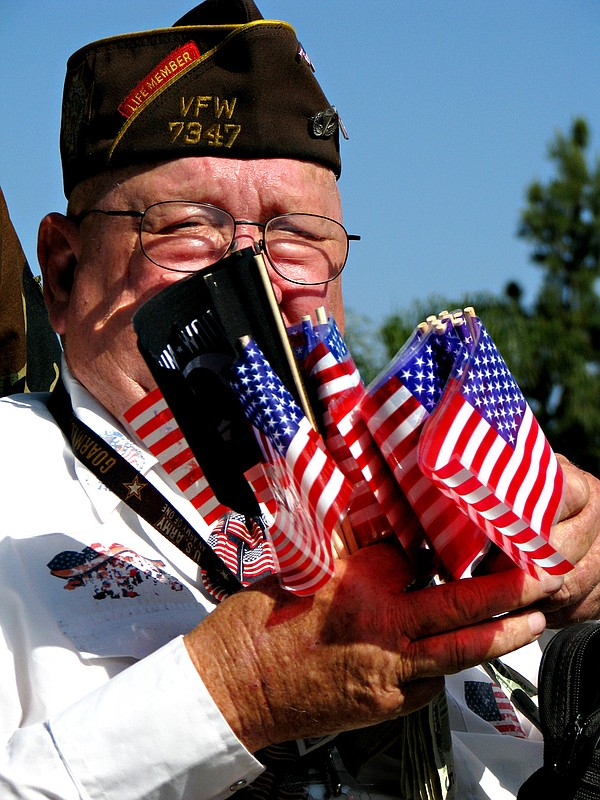 A veteran in the San Diego Veterans Parade.