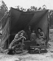 FSA photographer Dorothea Lange came across Florence Thompson and her children (pictured) in a pea pickers' camp in Nipomo, California, in March 1936. During the decade of Great Depression, California's population grew by more than 20 percent, an increase of 1.3 million people. More than half of the newcomers came from cities, not farms; one in six were professionals or white collar workers. Of the 315,000 who arrived from Oklahoma, Texas, and neighboring states, only 16,000 were from the Dust Bowl itself. But regardless of where they actually came from, regardless of their skills and their education and their individual reasons for seeking a new life in a new place, to most Californians - and to the nation at large - they were all the same. And they all had the same name: Okies.