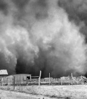 During the decade-long drought that turned the southern Plains into the Dust Bowl, the hardest hit area was centered on Boise City, Oklahoma, in a part of the Panhandle formerly known as No Man's Land. And the worst storm of all hit on Palm Sunday, April 14, 1935—a day remembered as Black Sunday. Here the storm sweeps over a farmstead on its way toward Boise City.