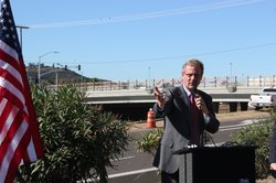 San Marcos mayor Jim Desmond marks the re-opening of the Nordahl Bridge, whic...