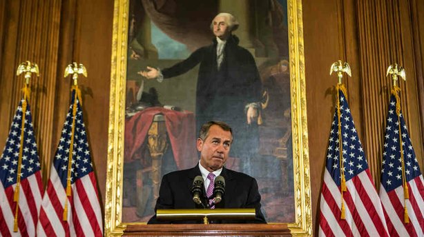 House Speaker John Boehner discusses the looming fiscal cliff on Capitol Hill on Wednesday.