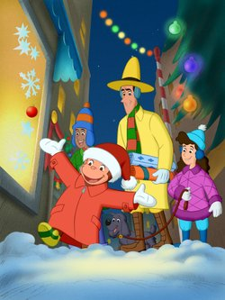 """In """"A Very Monkey Christmas,"""" Curious George (left) and the Man with the Yellow Hat (center) are having a wonderful time getting ready for Christmas. There's only one dilemma - neither of them can figure out what to give the other for a present!"""