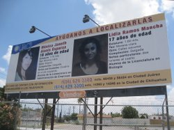 A 2009 billboard posted by the local university in Ciudad Juárez asks the public for help in locating of two of their students that went missing. One of those students is Lidia Ramos Mancha.