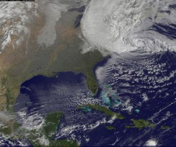 NOAA's GOES-13 satellite captured this visible image of Hurricane Sandy batte...