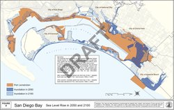 Projected sea level rise for San Diego Bay in 2050 and 2100.