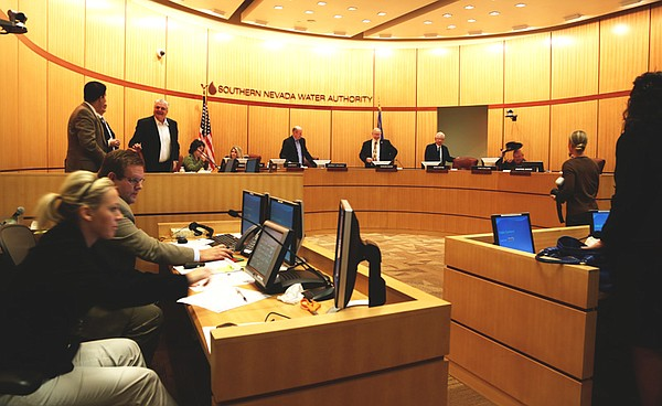 A board meeting of the Southern Nevada Water Authority ends in Las Vegas on N...