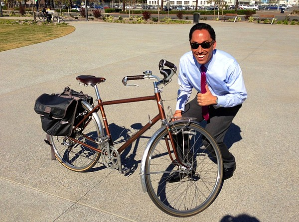 City Councilman Todd Gloria promotes the bike sharing pro...