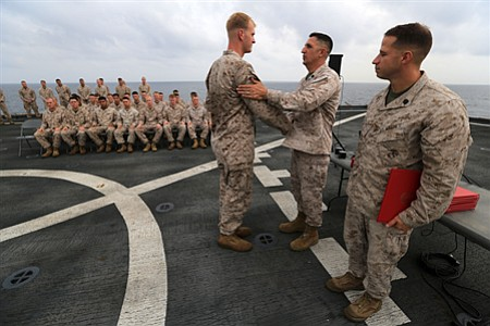 Marines from the 24th Marine Expeditionary Unit aboard the USS Gunston Hall.