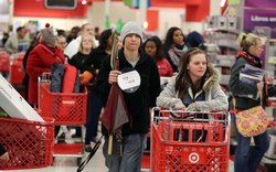 People shop at a Target on Thanksgiving night November 22, 2012 in Highland, Indiana.
