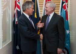 Secretary of the Navy (SECNAV) Ray Mabus meets with Australian Minister for Defense Stephen Smith at the Parliament House in Canberra, Australia in April 2012.