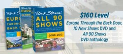 Give at the $160 level during our TV membership campaign and receive the Rick Steves' 90 Show DVD Anthology, 2-DVD set, a Rick Steves' 2012 Europe Through the Back Door Travel Skills Handbook, Europe Planning Map, Smithsonian magazine and Tour News - Best Destinations. This gift also includes enrollment in the myKPBS Savers Club plus additional online access to more than 130,000 merchant offers and printable coupons, as well as a KPBS License Plate Frame (if you're a new member).
