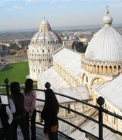 View from the top of the Tower of Pisa, Italy