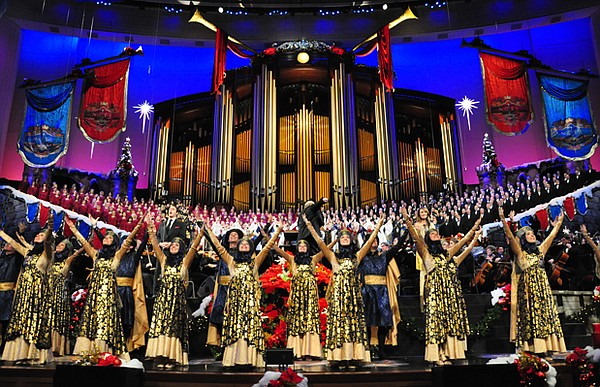 Dancers join the renowned Mormon Tabernacle Choir and Orchestra at Temple Squ...