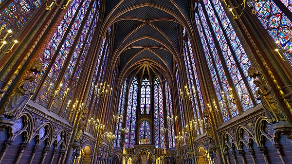 The interior of St. Chappelle, Paris.