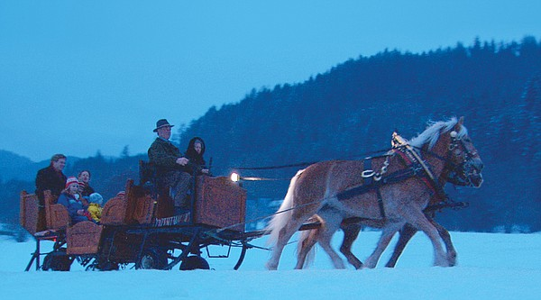 Sleighride at dusk in the Alps. Dashing through the snow, Rick Steves takes h...