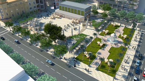 A rendering of the park planned for Horton Plaza.