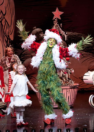 ilith Freund as Cindy-Lou Who and Steve Blanchard as The Grinch in Dr. Seuss'...