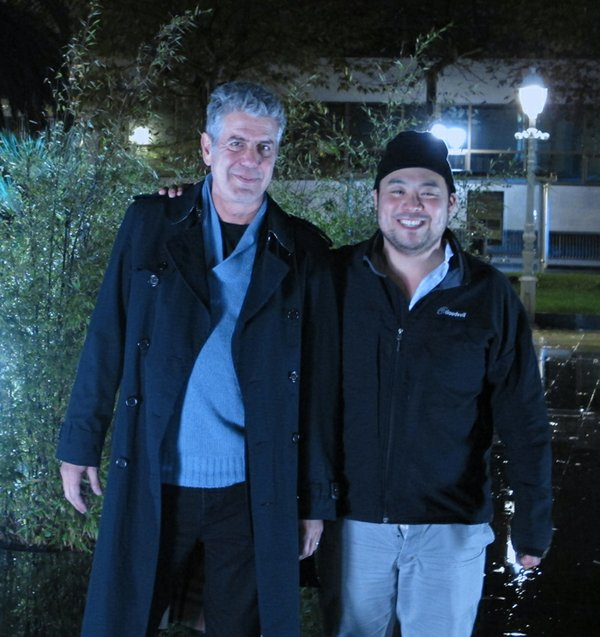 The Mind Of A Chef narrator Anthony Bourdain with chef Da...