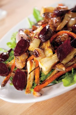 Roasting, because it concentrates the flavors of the ingredients, is well-suited to vegetables. Martha includes a recipe for a delicious roasted root vegetable salad (pictured).