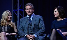 Joanne Froggatt, Hugh Bonneville and Elizabeth McGovern at TCA Press Tour. Du...
