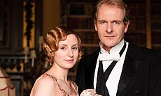 "Laura Carmichael as Lady Edith Crawley and Robert Bathurst as Sir Anthony Strallan in MASTERPIECE CLASSIC ""Downton Abbey"" Season 3."