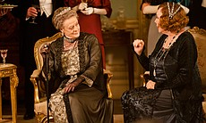 "Maggie Smith as Lady Violet Crawley and Shirley MacLaine as Martha Levinson in MASTERPIECE CLASSIC ""Downton Abbey"" Season 3."