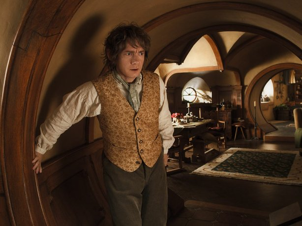 "Martin Freeman as the unassuming hobbit, Bilbo Baggins in ""The Hobbit: An Unexpected Journey"""