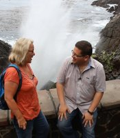 Jorge Meraz (right) enjoys hanging out at La Bufadora, observing the natural Bellagio fountain show and meeting the interesting tourists it draws.