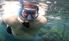 "Jorge Meraz snorkels for the first time ever in Bahia de Los Angeles... ""I never thought I'd do that, ever in my life!"""