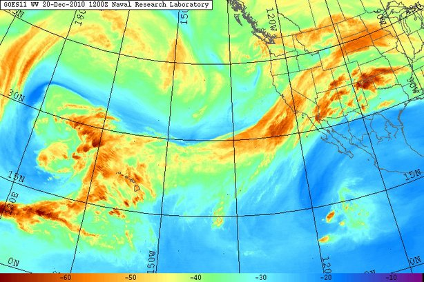 Water vapor imagery of the eastern Pacific Ocean showing a large atmospheric river aimed across California in December 2010.