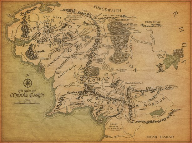 A map of J.R.R. Tolkien's Middle Earth, as seen in Peter Jackson's film adaptations.