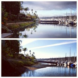Two photos comparing King Tides and low tide at Shelter Island in San Diego.