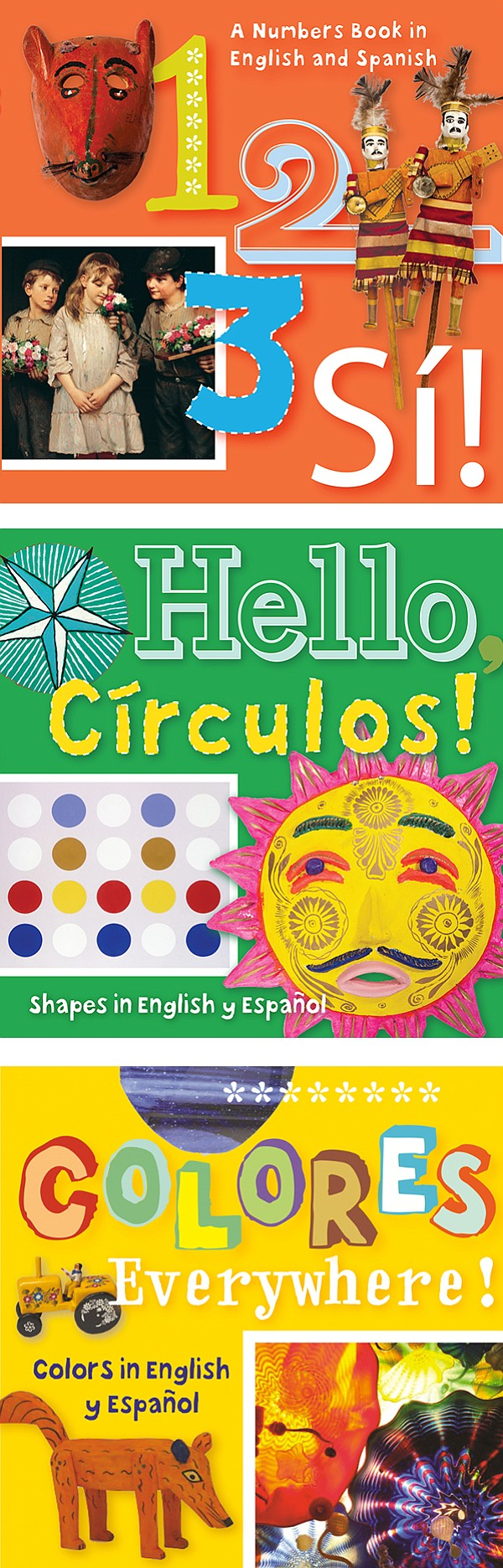 Covers of three bilingual books for children.