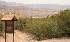 The village of Boquillas, Mex., as seen from a path leading from the Rio Grande into Big Bend National Park, Texas.