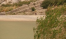 A Mexican citizen walks to Boquillas after crossing into Mexico from Big Bend National Park, Texas.