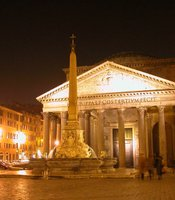 The floodlit Pantheon.