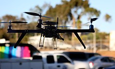 Drone flying in the parking lot of 3D Robotics