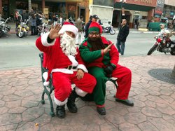 Biker Santas wear motorcycle boots under their suits.