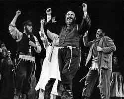"Zero Mostel performs ""Tradition"" in the 1964 Broadway production of ""Fiddler on the Roof."""