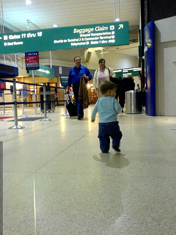 A toddler at San Diego's Lindbergh Field airport.