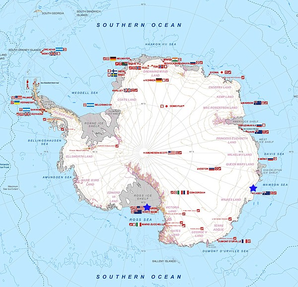 A map of Antarctica showing international research stations. The U.S. and Aus...