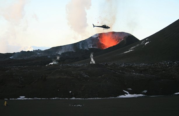 Helicopter over the crater of the Eyjafjallajökull volcano in Iceland.
